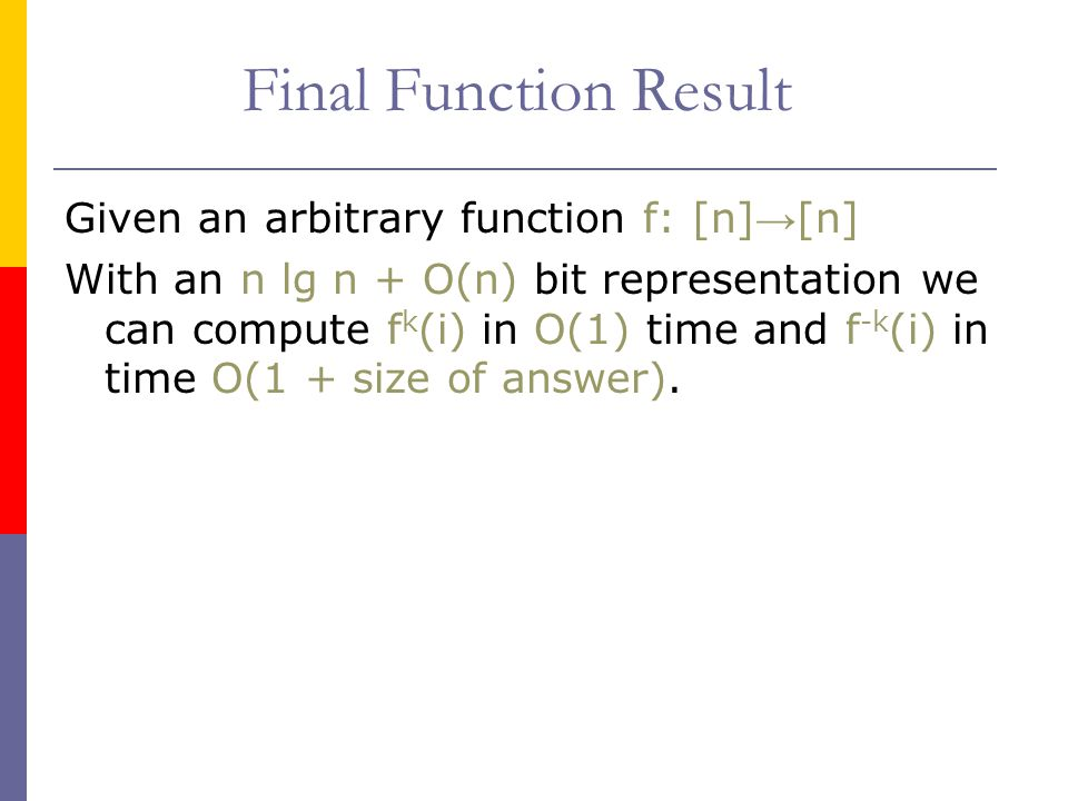 Final Function Result Given an arbitrary function f: [n]→[n]